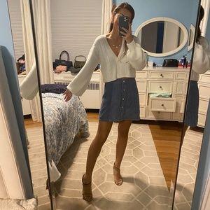 Blue Snap Button Corduroy Skirt